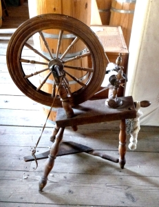 Greenbank Mills historic spinning wheel
